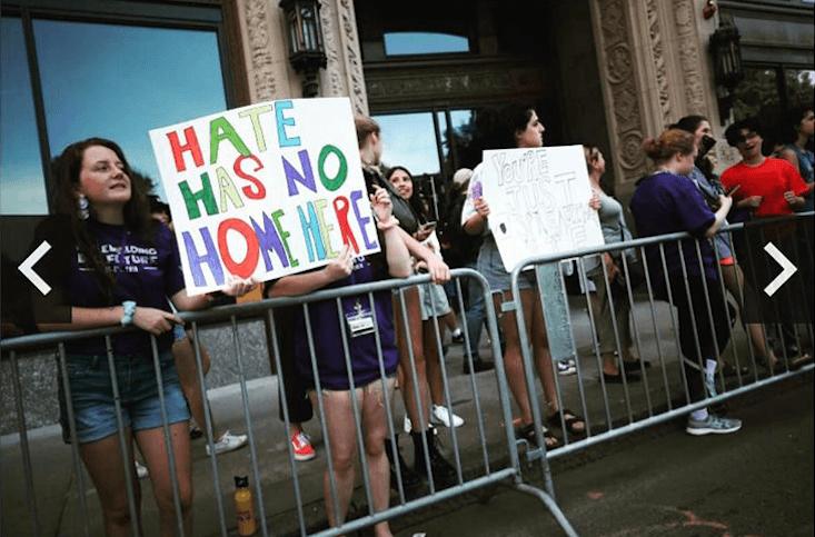 students protesting in boston